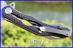 02043 Decepticon2 Tactical Folding Flipper Knife 4.13''Damascus Blade &CF Handle
