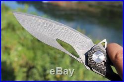 08003 Decepticon2 Tactical Folding Flipper Knife 4.13''Damascus Blade &CF Handle