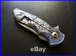 $1,400 Alan Folts Custom Carved Titanium Damascus Folder Folding Knife Mint/new