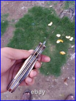 1 Of A Kind Rare Damascus Feather Pattren Lockback Handmade Folding Knife 13
