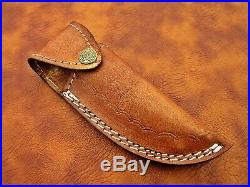 1095 Damascus Steel Custom Handmade Leaf Folding Pocket Knife Full Tang Brass V8