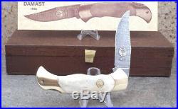 1985 Boker Annual 300 Layer Damascus ANTIQUE BONE Folding Knife, BEYOND RARE