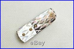 2 Pcs Custom Handmade Mini Folding Knife Color Damascus Black White Pearl Scale