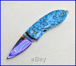 2 Pcs Handmade Mini Folding Knife Color Damascus Turquoise Buffalo Horn Pearl