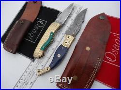 2 x BRASS Folding Pocket DAMASCUS Bush Hunting/Camping/Fishing Knife Knives/Lock