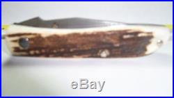 2002 Ag Russell Stag Damascus Lock Blade Folding Pocket Knife