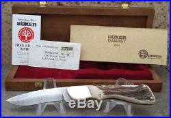2002 Boker Annual 300 Layer Damascus Stag Folding Knife, Highly Collectible