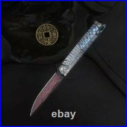2021 limited Mosaic Damascus color titanium handle folding knife outdoor camping