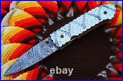 3.0Damascus Blade Custom made Folding Knife /, Engraved Handle, Liner Lock-CH-35