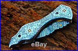 3.3 Blade Damascus Folding knife withLiner Lock, Fine Engraved Steel Handle, AF-3