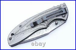 3.3Damascus Blade Handmade Folding Knife/Liner Lock, Clip, Filework, -UDK-A44-07