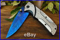 3.6Damascus Titanium Blade Custom made Folding Knife/ File-work, Clip -US-CH-224