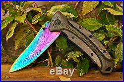 3.8Damascus Titanium Blade Custom made Folding Knife/Bone, Liner LockUDK-A227-19