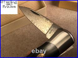 3-9/16 Closed Moki Japan VG-10/VG-2 Handmade Damascus Lock-Back Folding Knife