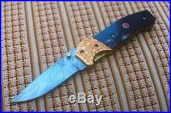 4.0Damascus Blade Handmade Folding Knife/ Buffalo Horn, Brass Bolster, -US-CH-204