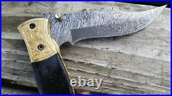 4 Folding Pocket Knife in Fire Damascus Steel Custom Made Made in USA