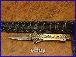5.2ozair Custom Forge Damascus Steel Liner Lock Dagger Folding Knife Ms-3737