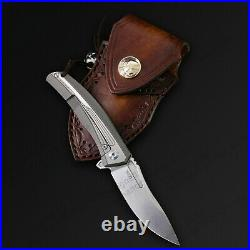 6 M390 Steel Folding Knife Assisted Open Titanium alloy Handle Liner Lock 62HRC