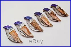 6 Pcs Custom Handmade Damascus Steel Folding Pocket Knife Handle Ram Horn