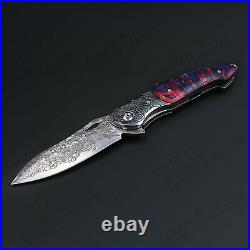 7 Damascus Folding Knife Assisted Open Stabilized Wood Handle Liner Lock 60HRC
