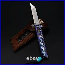 7 M390 Steel Folding Knife Assisted Open Titanium alloy Handle Liner Lock 61HRC