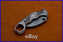 8.5 Handmade Damascus Folding Pocket knife Karambit Knife Hunting knife 108
