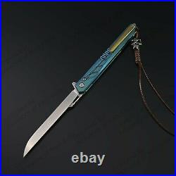 8 M390 Steel Folding Knife Assisted Open Titanium alloy Handle Liner Lock 60HRC