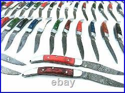 86 Pieces Handmade Damascus Steel Toothpick Folding Pocket Knives & Sheaths