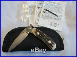 AG Russell Original Stag Damascus One handed Folding Knife. Unused. Excellent