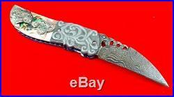 Alabama Damascus Folding Knife handmade by Suchat custon knives