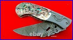 Alabama Damascus Steel Custom Folding Knife Handle Carving Pearl Shell Rare Art