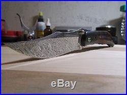 Alan Folts Custom Sultan Folding Knife Damascus, Desert Ironwood, Carbon Fiber