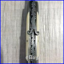 Amazing Daniel Winkler Hand Forged Damascus Blade Folding Knife MINT Condition