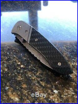 Andre De Villers 1995 Custom Folding Knife Meterorite Damascus Carbon Fiber Mint