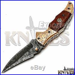 Andy Alm Custom Made USA Damascus Steel Folding Knife, Micarta Handle F-85