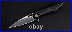 Artisan Archaeo Folding Knife 3.75 Damascus Steel Blade Black Titanium Handle