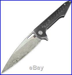 Artisan Archaeo Framelock Black Handle Damascus Steel Folding Knife 1821GDBK