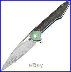 Artisan Archaeo Framelock Folding Knife 3.75 Damascus Blade Titanium Handle