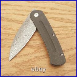 Artisan Centauri Folding Knife 3.46 Damascus Steel Blade Titanium/Carbon Fiber