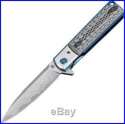 Artisan Classic Linerlock Damascus Steel Black G10 Handle Folding Knife 1802GDBK