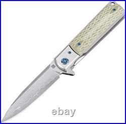 Artisan Classic Linerlock Damascus Steel Green G10 Handle Folding Knife 1802GDGN