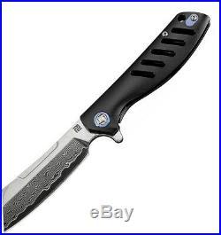 Artisan Cutlery Atz1815gdbk Tomahawk Framelock Damascus Ti Folding Knife