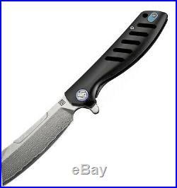 Artisan Cutlery Atz1815gsdbk 3 Inch Tomahawk Framelock Damascus Ti Folding Knife