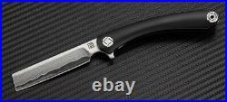 Artisan Cutlery Orthodox Folding Knife 2.75 Damascus Steel Blade Black Titanium