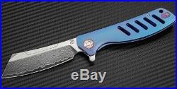 Artisan Cutlery Tomahawk Folding Knife 3 Damascus Blade Blue Titanium Handle