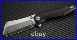 Artisan Osprey Frame Folding Knife 3.75 Damascus Steel Blade Titanium Handle