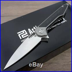 Artisan Small Archaeo Folding Knife 3 Damascus Steel Gray Titanium Handle