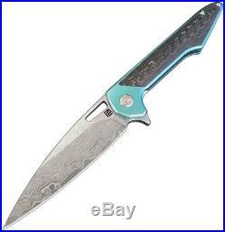 Artisan Small Archaeo Folding Knife 3 Damascus Steel Green Titanium Handle