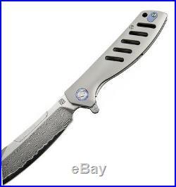 Artisan Tomahawk Folding Knife 3 Damascus Steel Blade Gray Titanium Handle