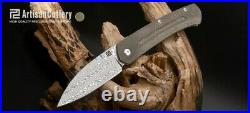 Artison Centauri Folding Knife OD Green Micarta Handle Damascus 1839GSD-ODG